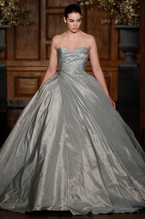 For a big ball gown look, this chrome-colored Romona Keveza dress is a stand-out.
