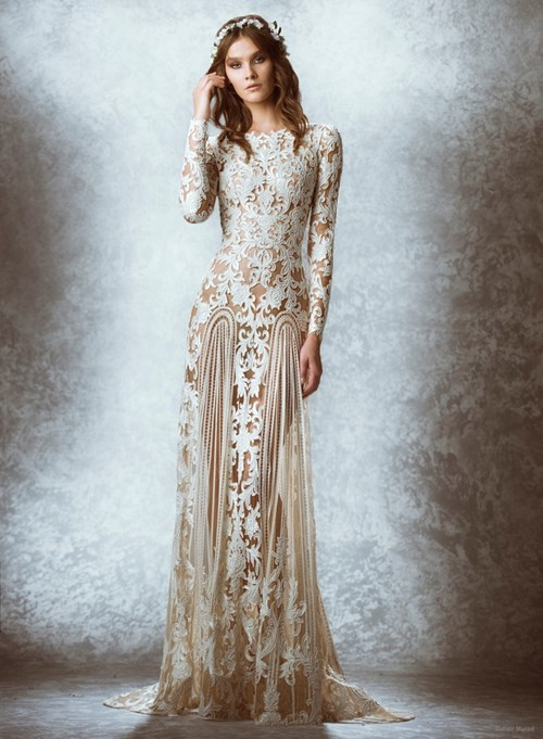 A lace sheath gown with long sleeves by Zuhair Murad